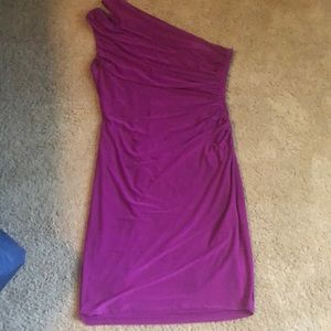 Rouched one-shoulder cocktail dress